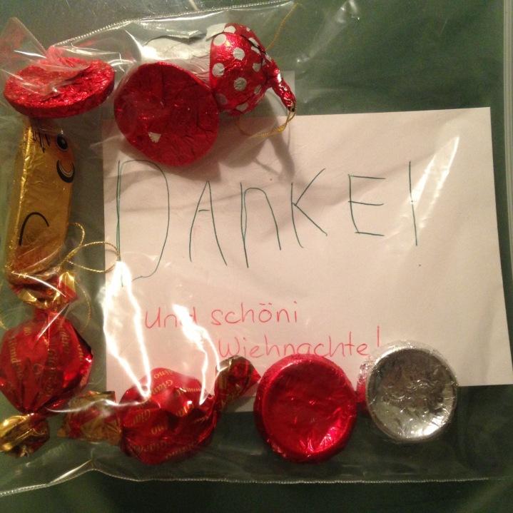 Schokolade für die Männer vom Müllabfuhr / Chocolates for our garbage collectors
